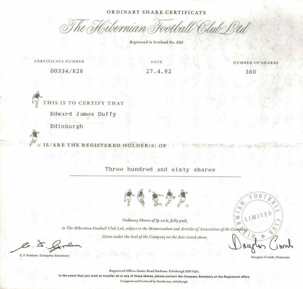 Hibs share certificate 1992 saint patricks branch hibs share certificate 1992 1betcityfo Gallery